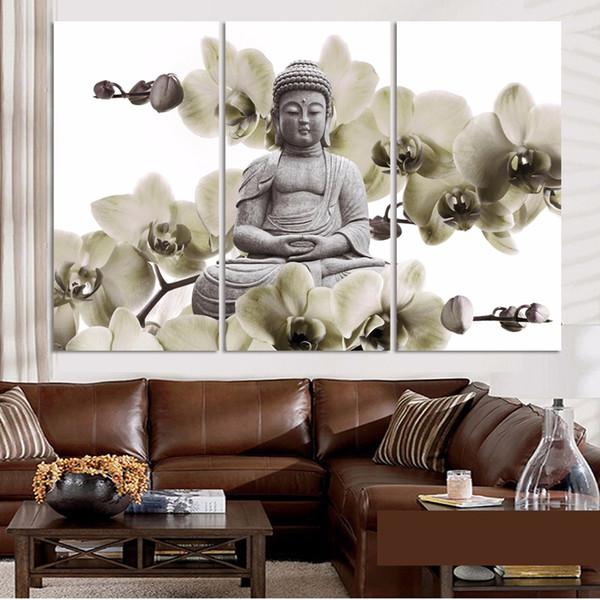 3 Pcs Fleurs D'orchidée Bouddha Style Moderne Abstrait Peinture Sur Huile Peinture Sur Toile Paysage Affiche Photos Peinture Décorative Mur Art No Frame