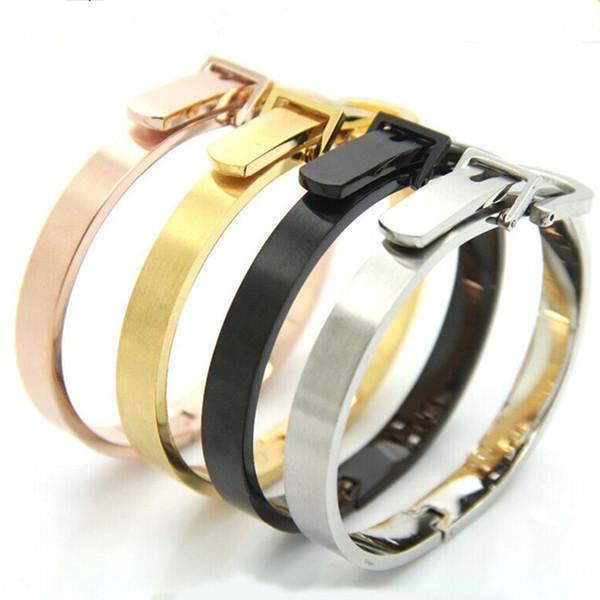 BB004 Belt Bangle WELL Gold Cuff Bangle Teddy Stainless Steel Jewelry Women Gift Fashion Accessory bear jewelry