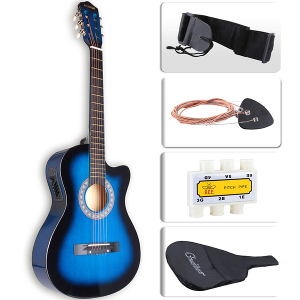 top popular Cutaway Design Electric Acoustic Guitar with Guitar Case, Strap & Tuner in Blue 2020