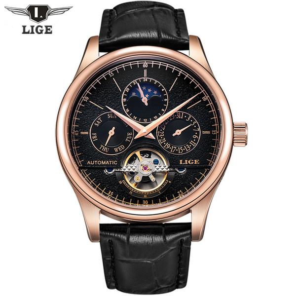 2017 캐주얼 남성 시계 럭셔리 톱 브랜드 LIGE 스포츠 시계 가죽 골드 시계 남자 달의 위상과 자동 시계