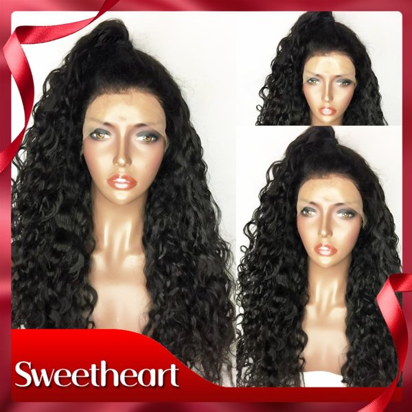 Free Shipping Natural Soft Long Black Kinky Curly Wig 180% Density Glueless Heat Resistant Synthetic Lace Front Wig With Baby Hair