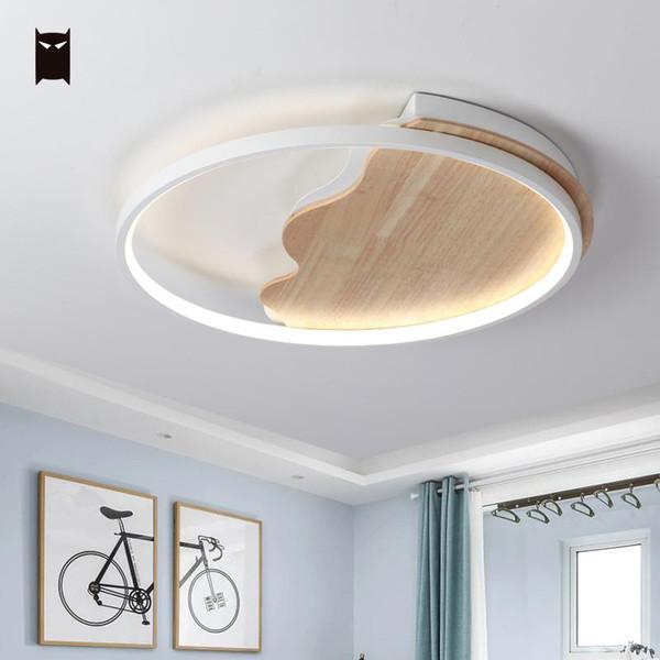 Beyaz Yuvarlak Ince Ahşap Demir Ay Tavan Işık Fikstürü İskandinav Modern Japon Geometri LED Plafon Lamba Tasarımcısı Fuaye Yatak Odası için
