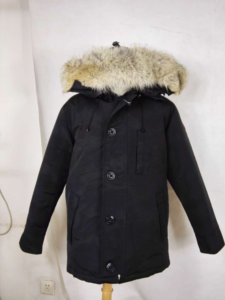 2018 Brand new Big coyote Fur New Mens thick Down canada style CHATEAU Parka Coat Winter Warm Jacket -30 degree