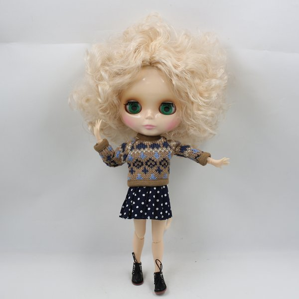 blythe doll Free shipping Nude Factory Blyth Doll Series No.BL3139 Champagne little curly hair with Cross eyes white skin Joint
