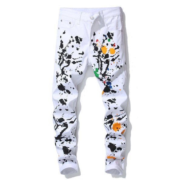 New trendy slim fit stretch men's white oil paint casual trousers ink painted graffiti pencil pants for men hip hop stage style