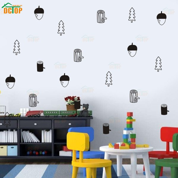Pine Cone Tree Wood Diy Kids Room Wall Stickers Removal Living Room Bedroom Decor Vinyl Mural Home Decoration Accessories