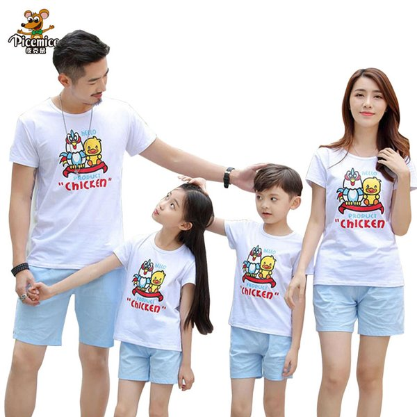 Family Look Summer Print Boy Girl T shirt Shorts Family Clothing Dad Son Mother and Daughter Clothes set Family Matching Outfits