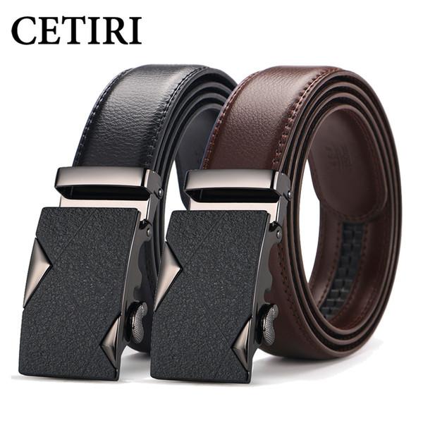 CETIRI mens brand belts luxury designer belts men high quality genuine leather ratchet belt slide male strap brown black