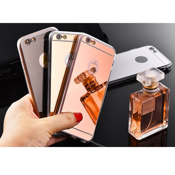 New Mirror phone case Electroplating Chrome Ultrathin Soft TPU Cases Cover For Samsung Galaxy S9 S8 plus iphone 6 7 8 8p