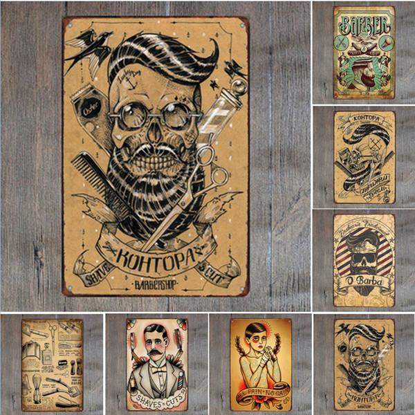 Friseurladen Rasiert Katze Retro Blechschild Vintage Handwerk Blechschild Retro Metall Malerei Poster Bar Pub Wandkunst
