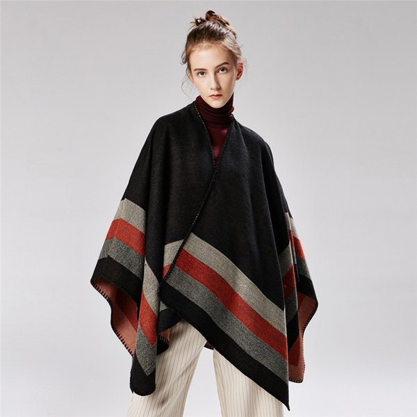 Vintage Blanket Four Wide Stripe Ladies Cape Fashion Jacquard High Quality Outdoor Coats For Christmas Party