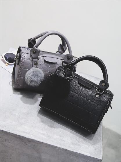 Ladies American style Boston Bags zipper plain soft PU leather handbag Pillow Thread Crochet Black Grey Red color with Pom Poms