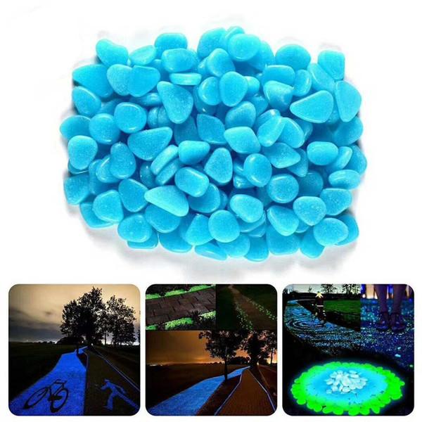 Blaue grüne leuchtende Steine glühen im dunklen Garten-Dekor-Straßen-im Freienfisch-Behälter-Dekoration Kiesel-Felsen-Aquarium 100pcs H1129