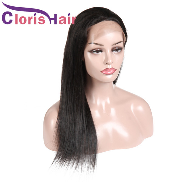 Pre Plucked Human Hair Lace Front Wigs Malaysian Straight African American Braided Wig Natural Hairline Full Density Wig For Black Women