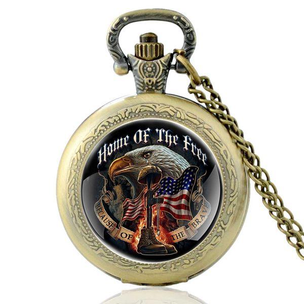Vintage Bronze United States Army Home Of The Free cuarzo reloj de bolsillo Retro clásico hombres mujeres colgante collar relojes regalos