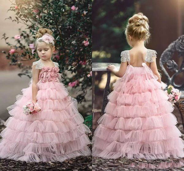Beautiful Pink Girls Layers Cupcake Flower Girl Dresses 2018 New Lace Cap Sleeves Rose Flowers Tutu Skirt Long Formal Pageant Party Gowns