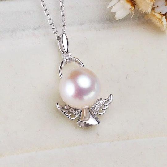top popular 1 piece zircon solid sterling silver pedant setting, angle pedant mounting without chain, pendant blank without pearl, jewelry DIY, gift DIY 2019