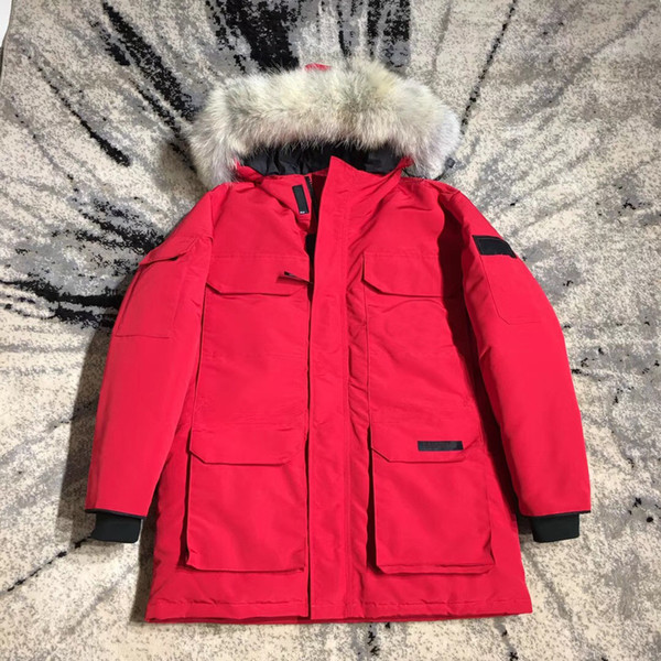 Coat hooded down jacket outdoor cold wolf fur collar down coat big goose down Parkas men