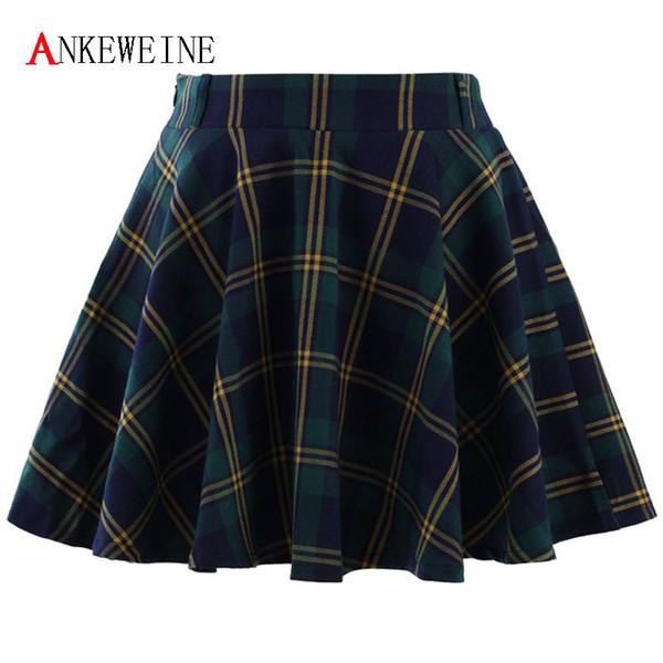 Women 2018 School Skater Skirt Korean Short Female Fashion Tutu Skirts Mini High Waist Short Kilt For Girl Ladies Vestidos