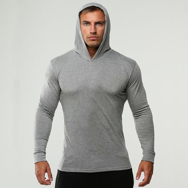 2018 Homens Camiseta de Manga Longa de Algodão com Cap Sólida Top Sportswear Skinny T de Alta Qualidade Grande Plus Size Estilo Primavera O Pescoço