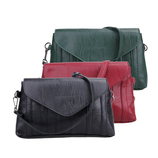 New Arriver Women Shoulder Bag PU Leather Vintage Messenger Bag Motorcycle Crossbody Bags Black Green Wine Red Bags