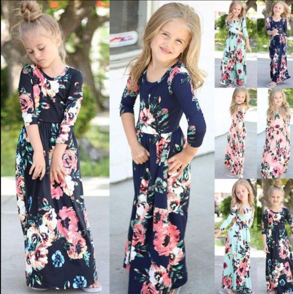Bambini Baby Girl Fashion Boho Long Maxi Dress Abbigliamento manica lunga Floral Dress Baby Bohemian Summer Floral Princess dress KKA4375