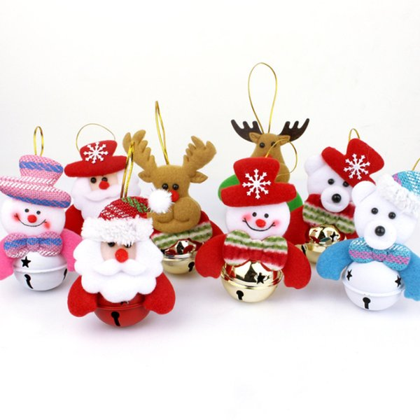 Christmas Tree Decoration Accessories Santa Claus Snowman Doll Pendant Christmas Supplies Bells Hanging Party Charm