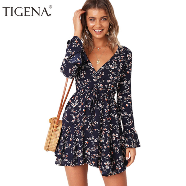 TIGENA Floral Print Chiffon Long Sleeve Dress Women 2018 Summer Sexy Wrap Boho Beach Mini Party Dress With Belt Robe Femme Red