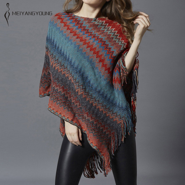 Women tassel knitted cloak casual striped irregular sweater poncho winter pullover female long christmas large rainbow cape 2018