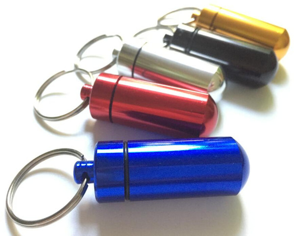 Key Holder Aluminum Waterproof Pill Box Bottle Holder Container Keyring Keychain Pill Box Jar 48mm*17mm Stash