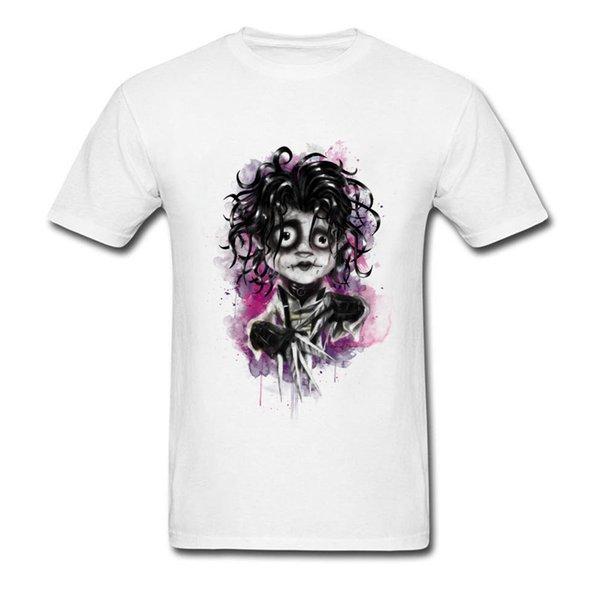 Nouveau Cartoon Edward Hommes T Shirt Coton Blanc Slim Fit Tops équipe de nouveauté Tee Shirts Art Aquarelle Sweat Adulte