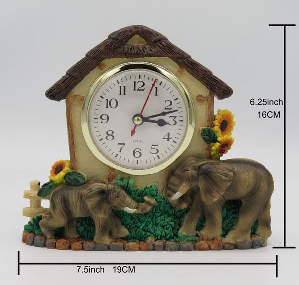 Hankroi Rural Style Desk Clock Resin 6.25 Inches Height Table Clock House & Elephant Hand Painted Home Decor