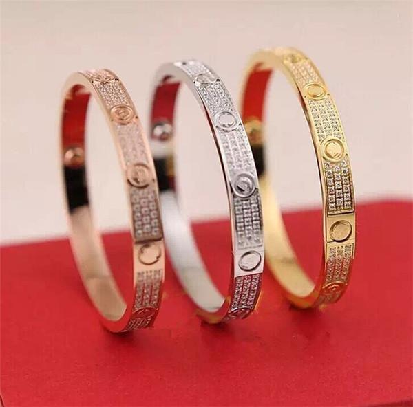 Marque Full Crystal bracelets d'amour bracelets Rouge Original Box Carter bracelets d'amour Ne se fanent jamais Bijoux de mariage en acier inoxydable