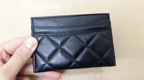 Mode-Business-Karten-Taschen aus echtem Leder Faden kreuzweise Diamant Gitter schwarz Kartenhalter Frauen Freies Verschiffen carteira feminina