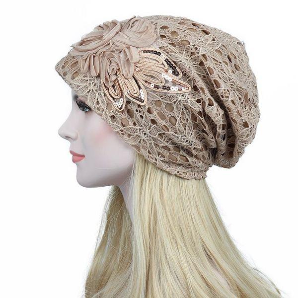 Compre Sombreros Turbantes Para Las Mujeres De Encaje Slouchy Beanie ...