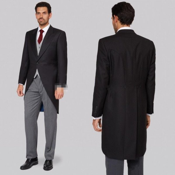 New Design Black Tailcoat Wedding Tuxedos Slim Fit Suits For Men Groomsmen Suit Cheap Prom Formal Suits (Jacket +Pants+Vest)