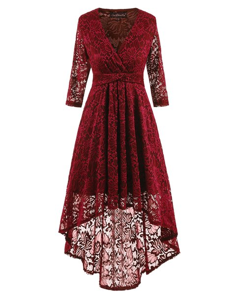 In stock Lace Party Dresses 3 Colors High Low Cheap Long sleeve V-Neck Short Prom Dresses Homecoming Gowns