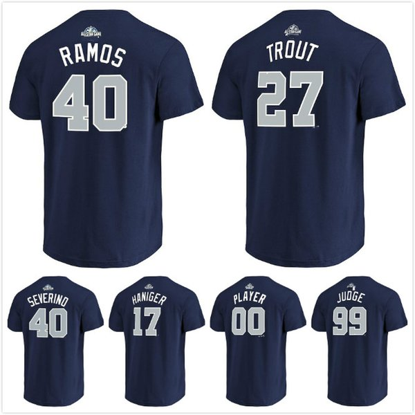 premium selection 18758 f6154 2018 All Star Game American League 27 Trout 40 Luis Severino Wilson Ramos  17 Mitch Haniger 99 Aaron Judge Name & Number T Shirt Men Lady Kid UK 2019  ...