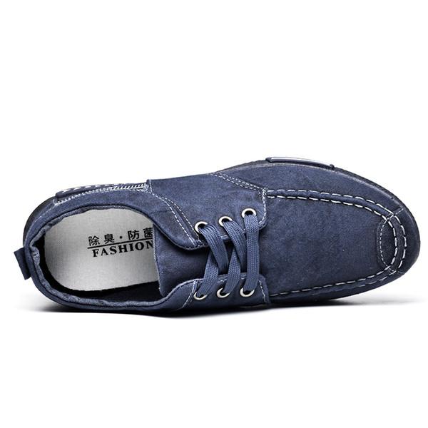 Novo Design Canvas Shoes Denim Lace-Up Men Casual Shoes New 2017 Plimsolls respirável Masculino calçado Primavera Outono RME-252