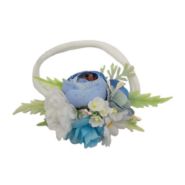 Beautiful Ivorie Artificial Ranunculus Flower Crown Soft Elastic Nylon Headbands For Newborn Kids Girls Women Baby Headband Hair Accessories