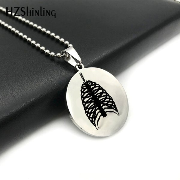 SS-0023 2018 New Rib Cage Stainless Steel Necklace Art Round Pendant Silver Ball Chain Hand Craft Jewelry For Men