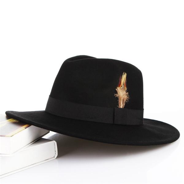 2018 Vintage Pure Wool Felt Men Fedora Cap Plain Pillbox Male Feather Top Cap England Gentleman Hat Sombreros Autumn Winter Hat