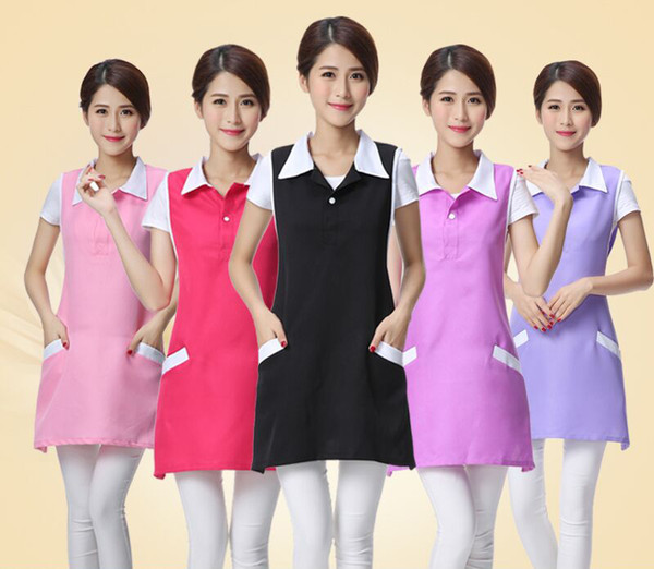 top popular Polyester Nail Work Cloth Cosmetologist Beauty salon Apron Uniform Mother and baby store clerk Sleeveless apron 2020