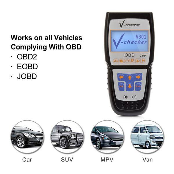 V-checker V301 EOBD OBD2 Escáner Lector de código de fallas del motor del coche Herramienta de diagnóstico de diagnóstico CAN