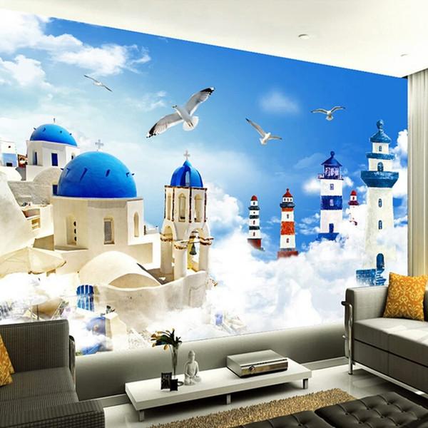 Foto personalizada estilo mediterráneo faro de dibujos animados gaviotas TV fondo pintura de la pared decoración niños habitación Mural Wallpaper 3D