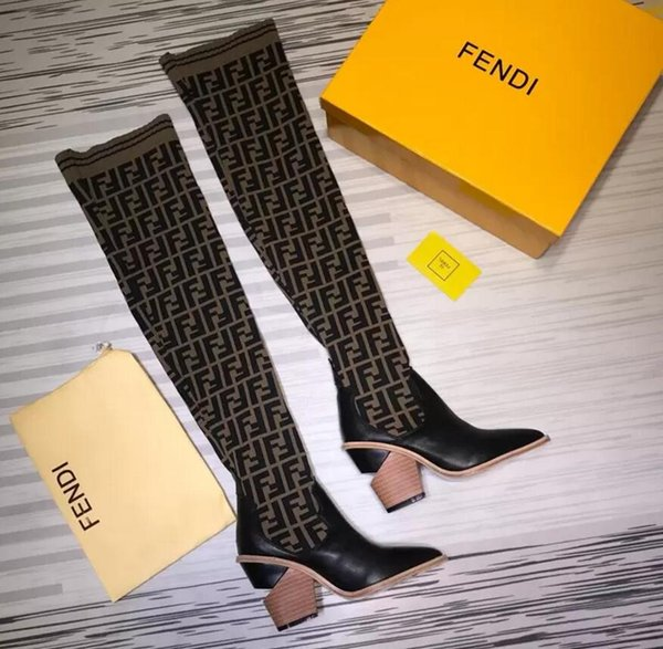 76a131cdf Stretch Fabric Thigh-high Boots FF motif Womens Distinctive Heel Sock Shoes  Luxury Brand Ladies