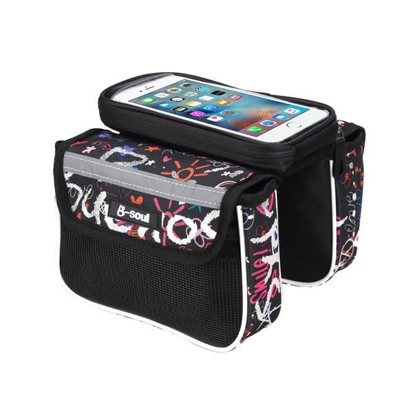 5.5 Inch Bicycle Bag Waterproof Touch Screen Front Top Tube Frame Cycling MTB Bike Bag Pannier Double Pouch for Phone