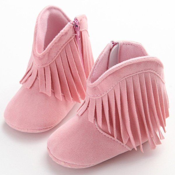 Fashion Baby toddler shoes Infant Soft Soled Anti-slip Fringe Boots Booties Baby Boots Girl Boy Kids Solid Fringe Shoes