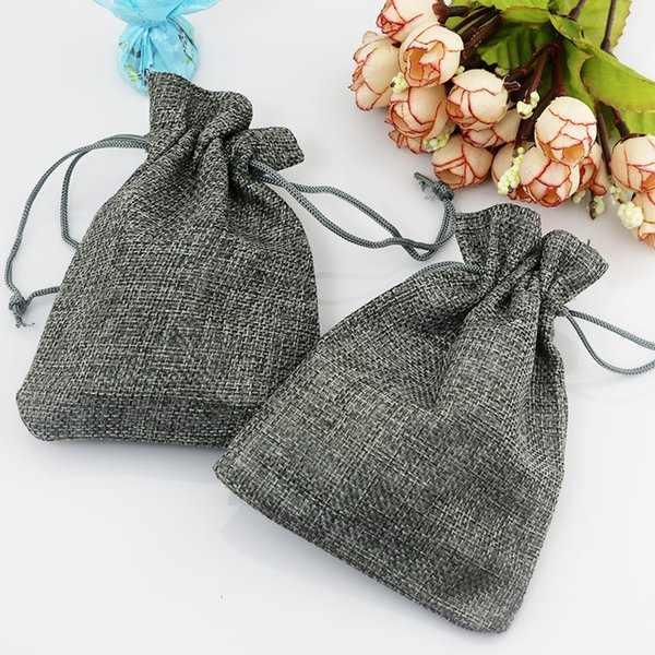 50pcs/lot Small Gray Jute Bag 7*9cm Cute Drawstring Gift Bag Wedding Use Sachet Storage Charms Jewelry Packaging Linen Bags