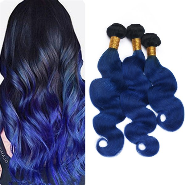 Virgin Malaysian Ombre Blue Human Hair Weft Bundles Body Wave Wavy Two Tone 1B Blue Ombre Hair Weave Extensions 3Pcs Lot